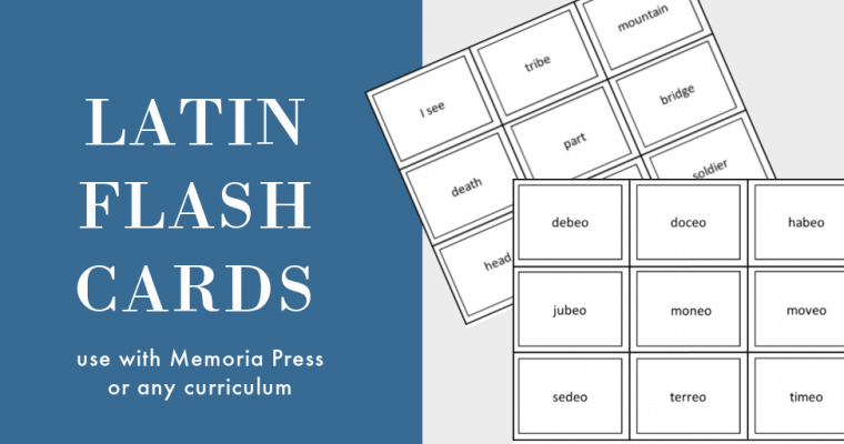 One-Sided Latin Flashcards for Memoria Press or Other Homeschool Curriculum
